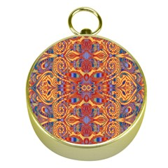 Oriental Watercolor Ornaments Kaleidoscope Mosaic Gold Compasses by EDDArt