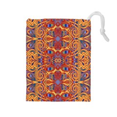 Oriental Watercolor Ornaments Kaleidoscope Mosaic Drawstring Pouches (large)  by EDDArt