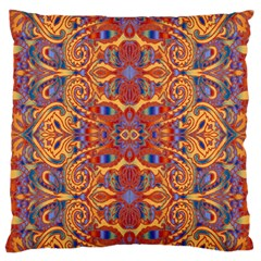 Oriental Watercolor Ornaments Kaleidoscope Mosaic Large Flano Cushion Case (one Side) by EDDArt