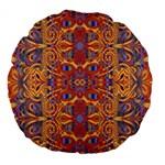 Oriental Watercolor Ornaments Kaleidoscope Mosaic Large 18  Premium Flano Round Cushions