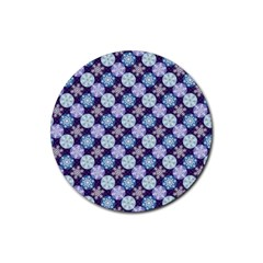 Snowflakes Pattern Rubber Round Coaster (4 Pack)  by DanaeStudio
