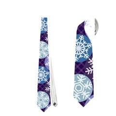 Snowflakes Pattern Neckties (two Side)  by DanaeStudio