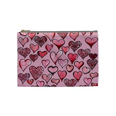 Artistic Valentine Hearts Cosmetic Bag (medium)  by BubbSnugg