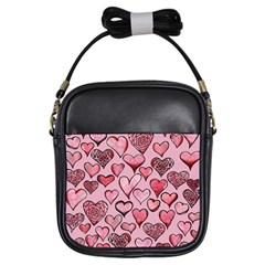 Artistic Valentine Hearts Girls Sling Bags by BubbSnugg