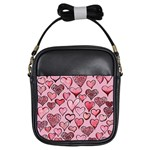 Artistic Valentine Hearts Girls Sling Bags