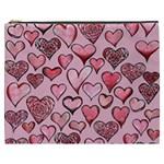 Artistic Valentine Hearts Cosmetic Bag (XXXL)
