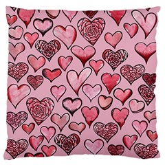 Artistic Valentine Hearts Large Flano Cushion Case (two Sides) by BubbSnugg