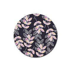 Winter Beautiful Foliage  Rubber Round Coaster (4 Pack)  by DanaeStudio