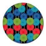 Vibrant Retro Pattern Round Mousepads