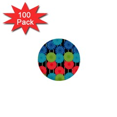 Vibrant Retro Pattern 1  Mini Buttons (100 Pack)  by DanaeStudio
