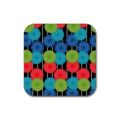 Vibrant Retro Pattern Rubber Square Coaster (4 Pack)  by DanaeStudio