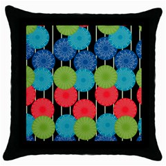 Vibrant Retro Pattern Throw Pillow Case (black) by DanaeStudio