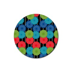 Vibrant Retro Pattern Rubber Coaster (round)  by DanaeStudio