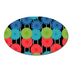 Vibrant Retro Pattern Oval Magnet by DanaeStudio