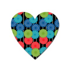 Vibrant Retro Pattern Heart Magnet by DanaeStudio