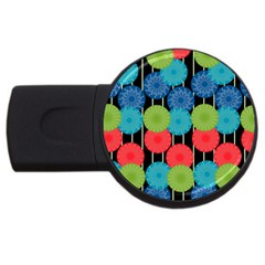 Vibrant Retro Pattern Usb Flash Drive Round (4 Gb)  by DanaeStudio