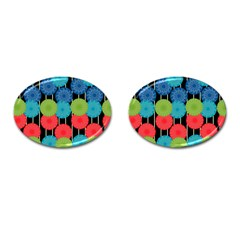 Vibrant Retro Pattern Cufflinks (oval) by DanaeStudio