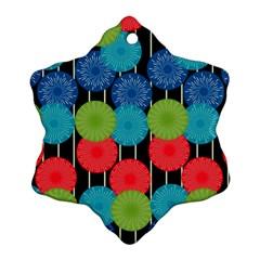 Vibrant Retro Pattern Snowflake Ornament (2 Side) by DanaeStudio