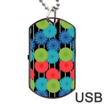 Vibrant Retro Pattern Dog Tag USB Flash (Two Sides)