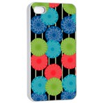 Vibrant Retro Pattern Apple iPhone 4/4s Seamless Case (White)