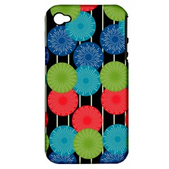 Vibrant Retro Pattern Apple Iphone 4/4s Hardshell Case (pc+silicone) by DanaeStudio