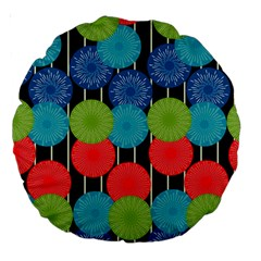 Vibrant Retro Pattern Large 18  Premium Round Cushions by DanaeStudio