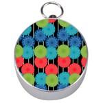 Vibrant Retro Pattern Silver Compasses