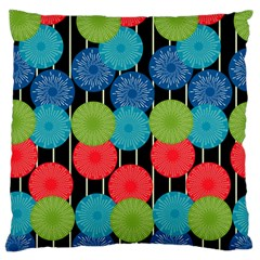 Vibrant Retro Pattern Large Flano Cushion Case (two Sides) by DanaeStudio
