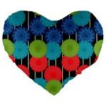 Vibrant Retro Pattern Large 19  Premium Flano Heart Shape Cushions