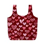 Watercolor Valentine s Day Hearts Full Print Recycle Bags (M)