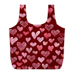 Watercolor Valentine s Day Hearts Full Print Recycle Bags (L)