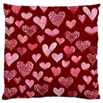 Watercolor Valentine s Day Hearts Large Flano Cushion Case (Two Sides)