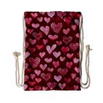 Watercolor Valentine s Day Hearts Drawstring Bag (Small)