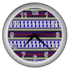 Colorful Retro Geometric Pattern Wall Clocks (silver)  by DanaeStudio