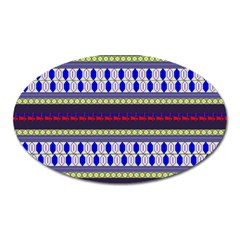 Colorful Retro Geometric Pattern Oval Magnet by DanaeStudio