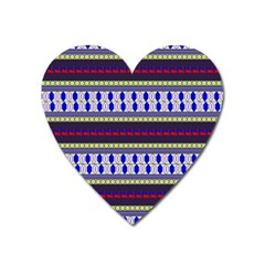 Colorful Retro Geometric Pattern Heart Magnet by DanaeStudio