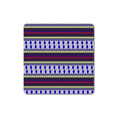 Colorful Retro Geometric Pattern Square Magnet by DanaeStudio