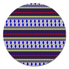 Colorful Retro Geometric Pattern Magnet 5  (round) by DanaeStudio