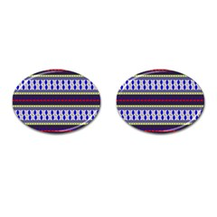 Colorful Retro Geometric Pattern Cufflinks (oval) by DanaeStudio