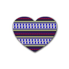 Colorful Retro Geometric Pattern Heart Coaster (4 Pack)  by DanaeStudio