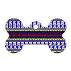 Colorful Retro Geometric Pattern Dog Tag Bone (one Side) by DanaeStudio