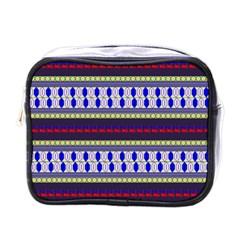 Colorful Retro Geometric Pattern Mini Toiletries Bags by DanaeStudio