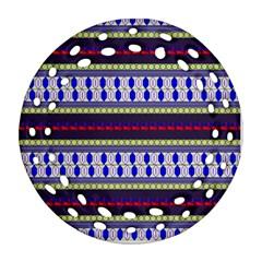 Colorful Retro Geometric Pattern Round Filigree Ornament (2side) by DanaeStudio