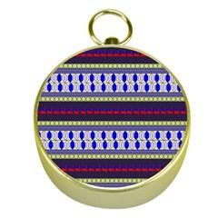 Colorful Retro Geometric Pattern Gold Compasses by DanaeStudio