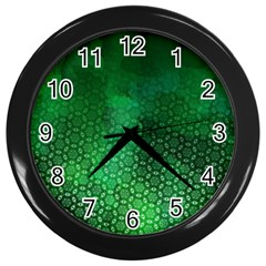 Ombre Green Abstract Forest Wall Clocks (black) by DanaeStudio