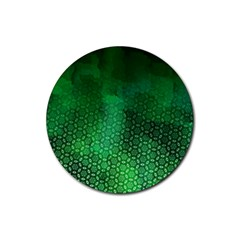 Ombre Green Abstract Forest Rubber Coaster (round)  by DanaeStudio