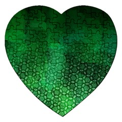 Ombre Green Abstract Forest Jigsaw Puzzle (Heart) by DanaeStudio