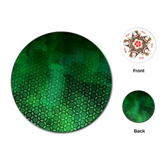 Ombre Green Abstract Forest Playing Cards (round)  by DanaeStudio