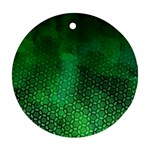 Ombre Green Abstract Forest Round Ornament (Two Sides)