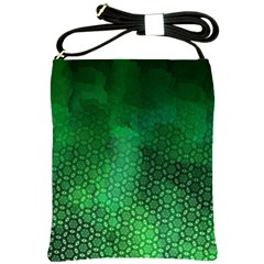Ombre Green Abstract Forest Shoulder Sling Bags by DanaeStudio